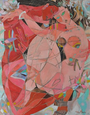 Lot 5-John Chein (British 20th Century), Two Women in Abstract Expressionist Style
