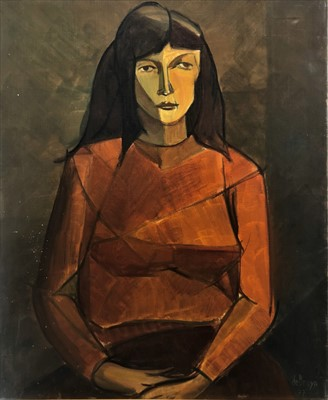Lot 3-Francis de Bruyn (Continental, 20th Century), Portrait of a Lady in a Red Sweater
