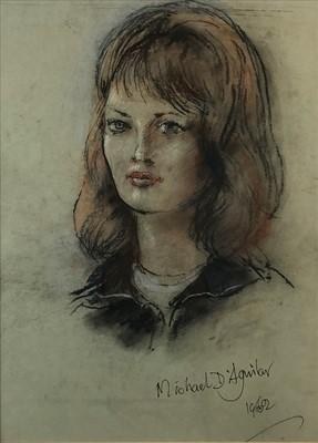 Lot 24-Michael D'Aguilar (British 20th-21st Century), Female Portrait
