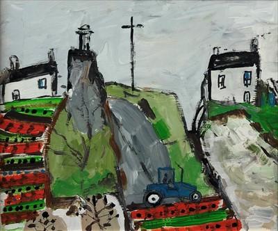 Lot 8-Cornish School (20th Century), Blue Tractor, Gulvil, Penzance
