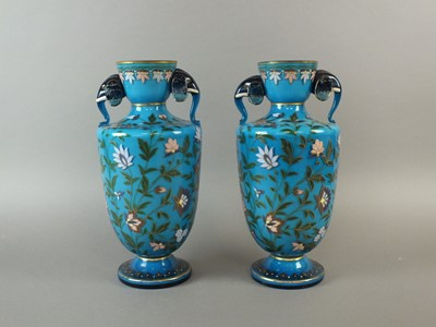 Lot 13 - A pair of late 19th century Continental glass vases