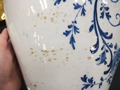 Lot 10 - Two 18th century delft dry drugs jars