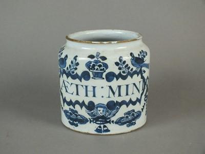 Lot 11 - Late 18th century delft drug jar