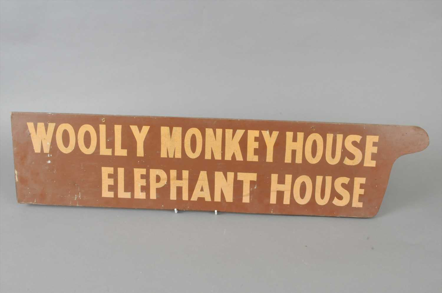 Lot 625 - A 20th century hand painted zoo sign 'Woolly Monkey House, Elephant House'