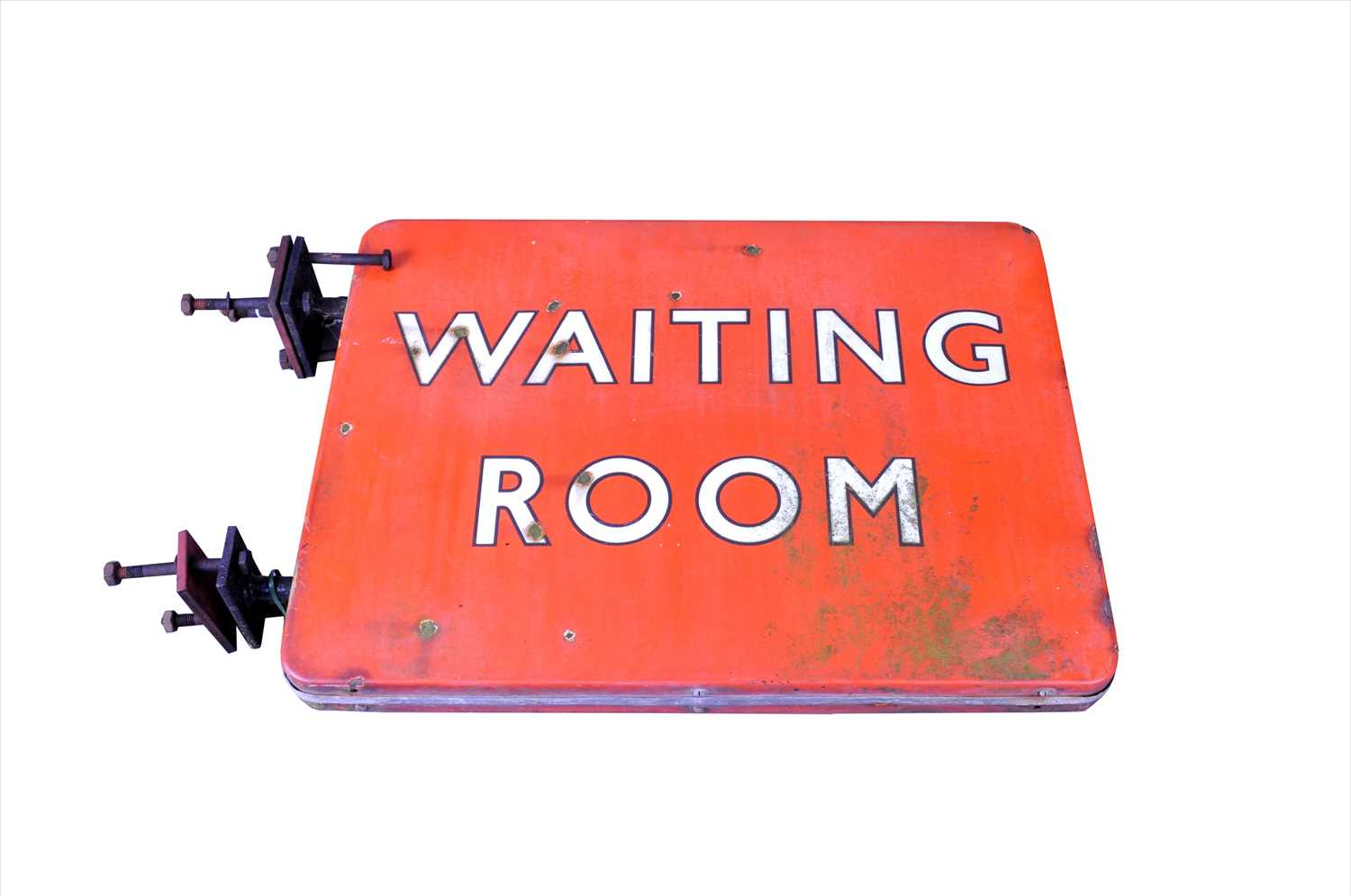 Lot 629 - A large double-sided 20th century enamel 'Waiting Room' sign, possibly British Railways