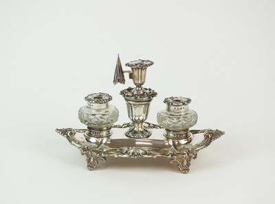 Lot 85 - A Victorian silver ink stand