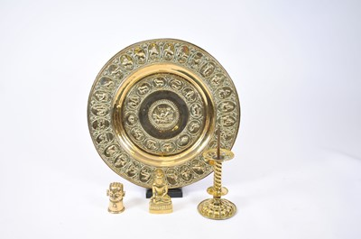 Lot 5 - A collection of brassware including a charger,...