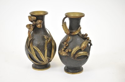 Lot 14 - A pair of Meiji period bronze vases, of...