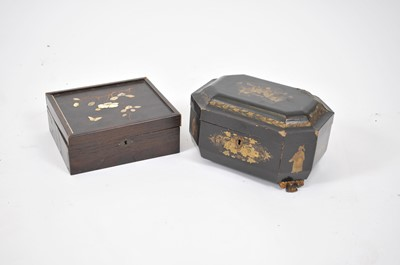 Lot 16 - A Meiji period shibayama hardwood box, the top...