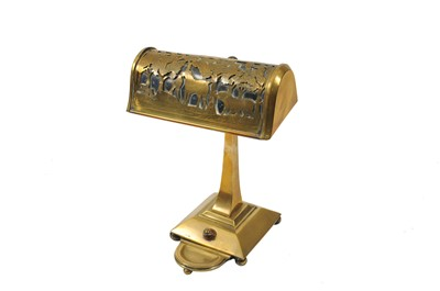 Lot 8 - An early 20th century brass desk lamp, the...