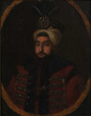 Lot 387 - Circle of Konstantin Kapidgli, Portrait Miniature on Copper of Sultan Selim III (R. 1789-1809)