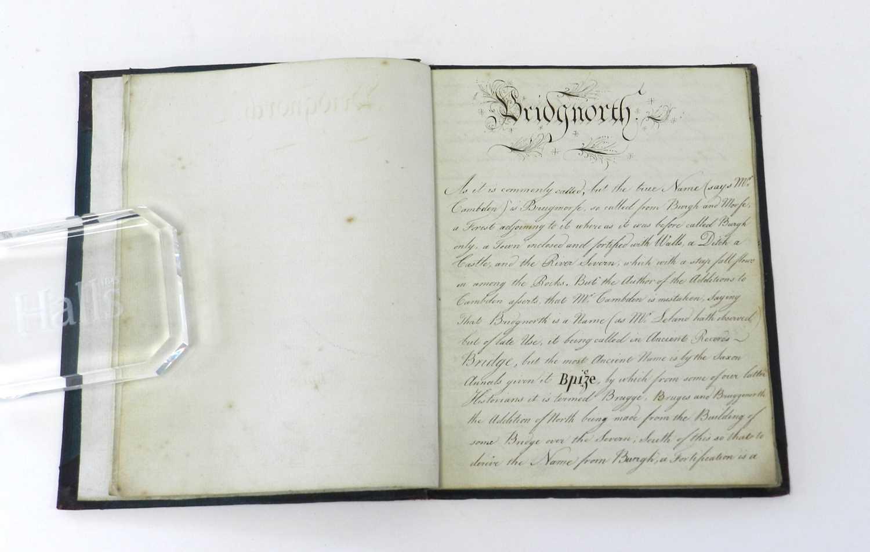 Lot 20 - BRIDGNORTH MANUSCRIPT. Small 4to. Manuscript...