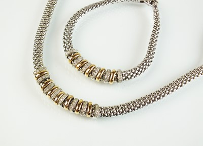 Lot 106 - A Fope Virgina 18ct white gold necklace and bracelet suite
