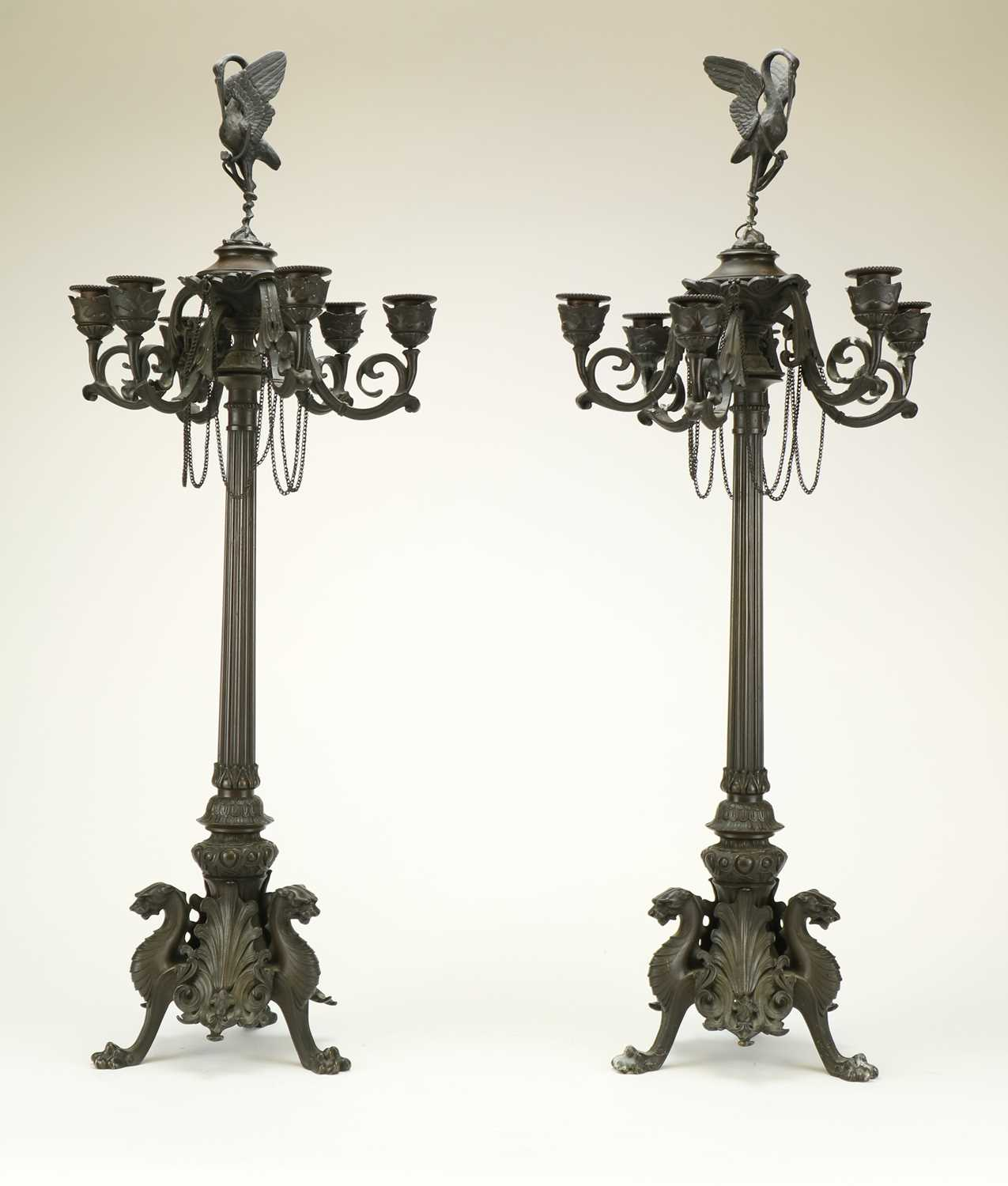 357 - A pair of French bronze six-branch candelabra, late 19th century
