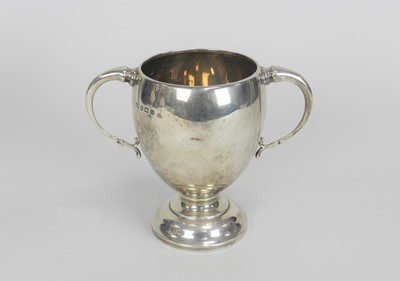 Lot 12 - A silver presentation two handled trophy cup