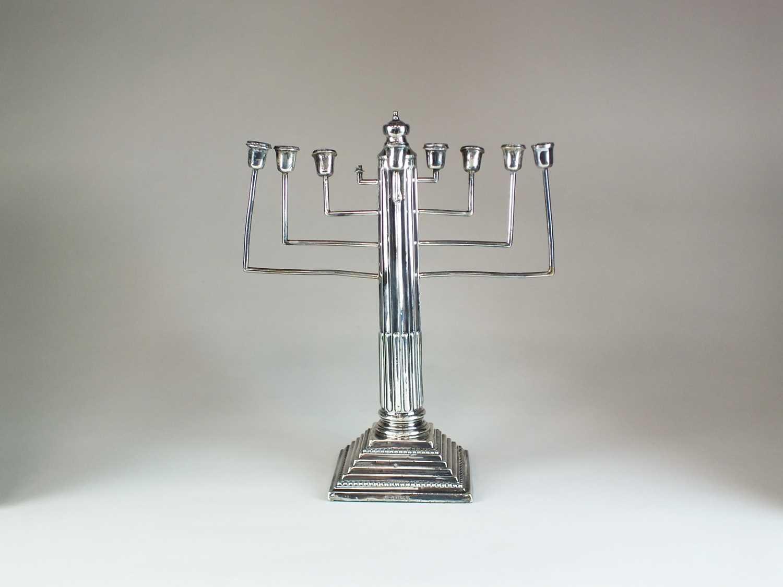Lot 20 - A silver mounted Hanukkiah