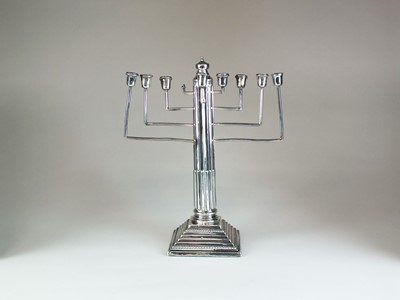 Lot 20 - A silver mounted Hanukkiah