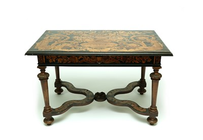 Lot 455 - A late 17th century style Dutch walnut and ebonised marquetry side table, 19th century