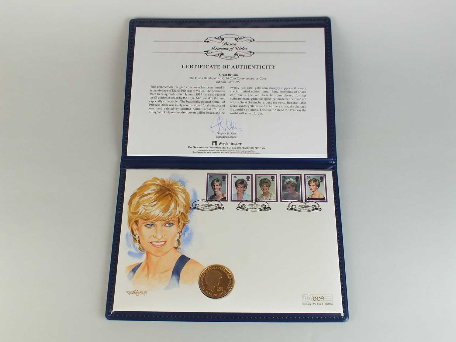Lot 179 - A Diana Princess of Wales hand painted £5 gold coin