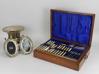 Lot 10 - A cased part canteen of silver plated cutlery