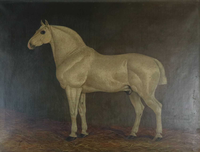 213 - British School (19th Century), Grey Horse in Loose Box