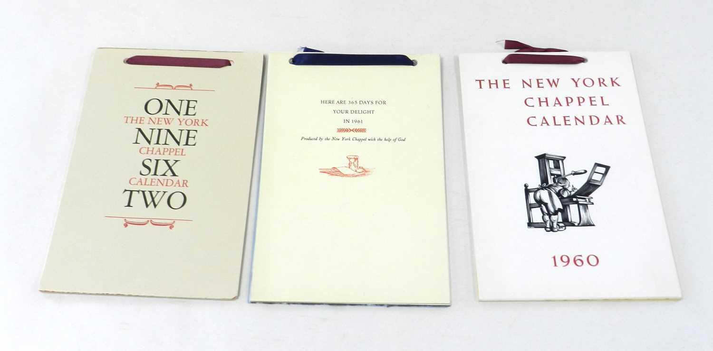 Lot 9 - NEW YORK CHAPPEL CALENDARS for 1960, 1961,...