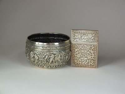 Lot 7 - An Indian white metal bowl and card case