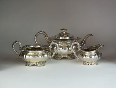 Lot 17 - A George IV three piece silver tea service