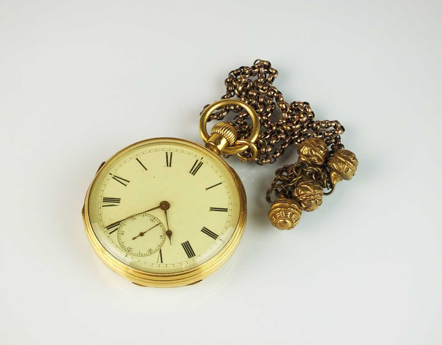 60 - A Gentleman's mid 19th century 18ct gold open face pocket watch