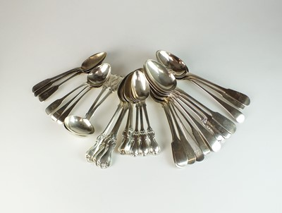 Lot 4 - A collection of silver spoons and sauce ladles