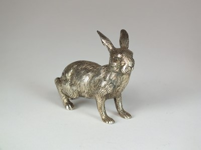 Lot 19 - A  German white metal model of a hare