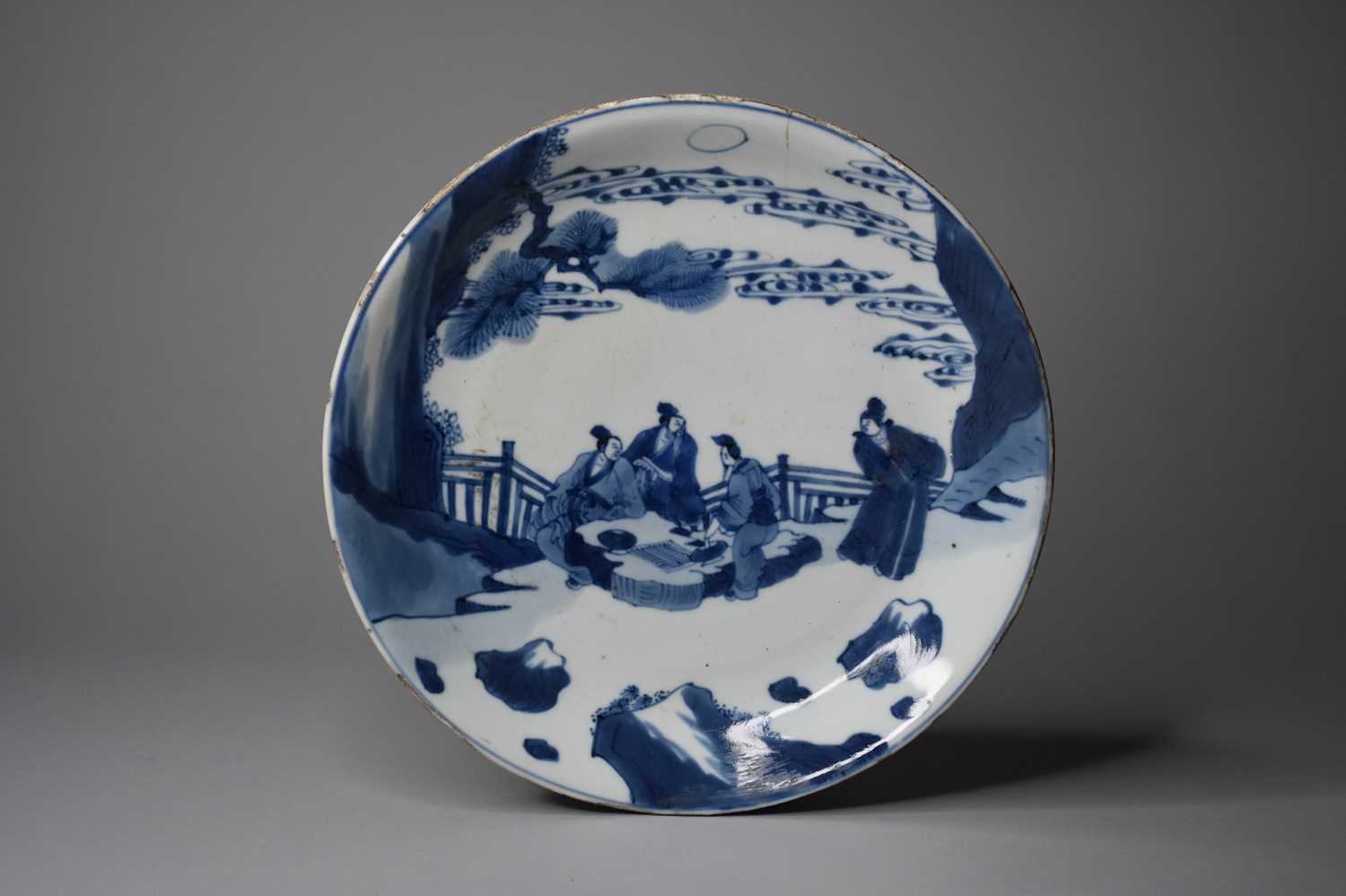 299 - A Chinese blue and white dish, 18th century