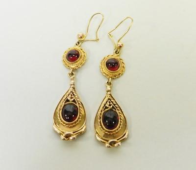 Lot 27 - A pair of 9ct gold Victorian style garnet drop ear pendants