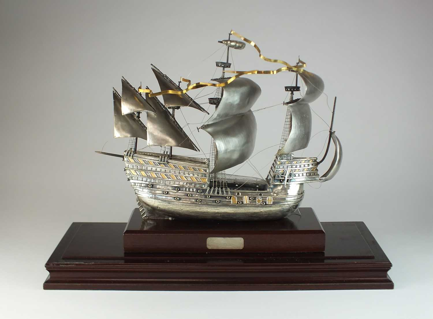 6 - A large silver model of Henry VIII's flagship the Mary Rose
