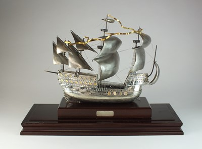 Lot 6 - A large silver model of Henry VIII's flagship the Mary Rose