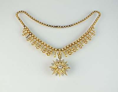 Lot 46 - A late 19th century diamond and seed pearl necklace and pendant/brooch