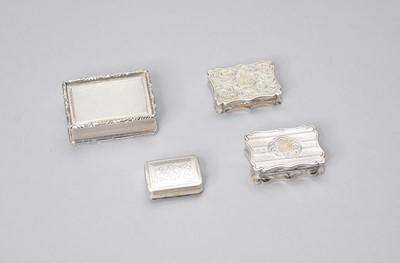 Lot 10 - Three silver vinaigrettes and a silver pill box
