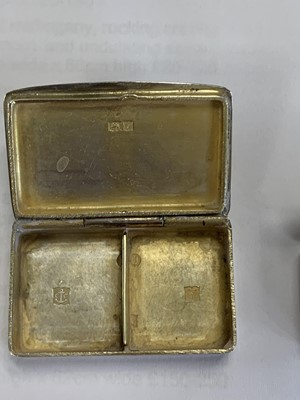 Lot 12 - Two silver vinaigrettes and two silver pill boxes