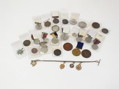 Lot 27 - Twenty-five silver, white metal and bronze school attendance medals