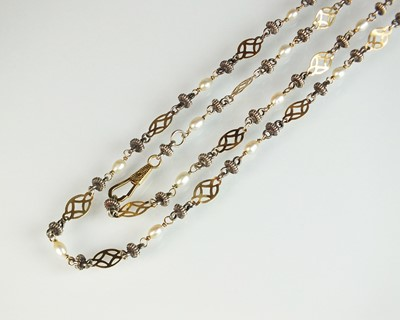 Lot 47 - A yellow and white metal freshwater pearl set necklace