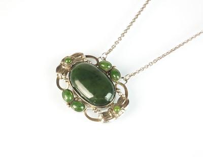 Lot 44 - A Georg Jensen nephrite and silver foliate pendant