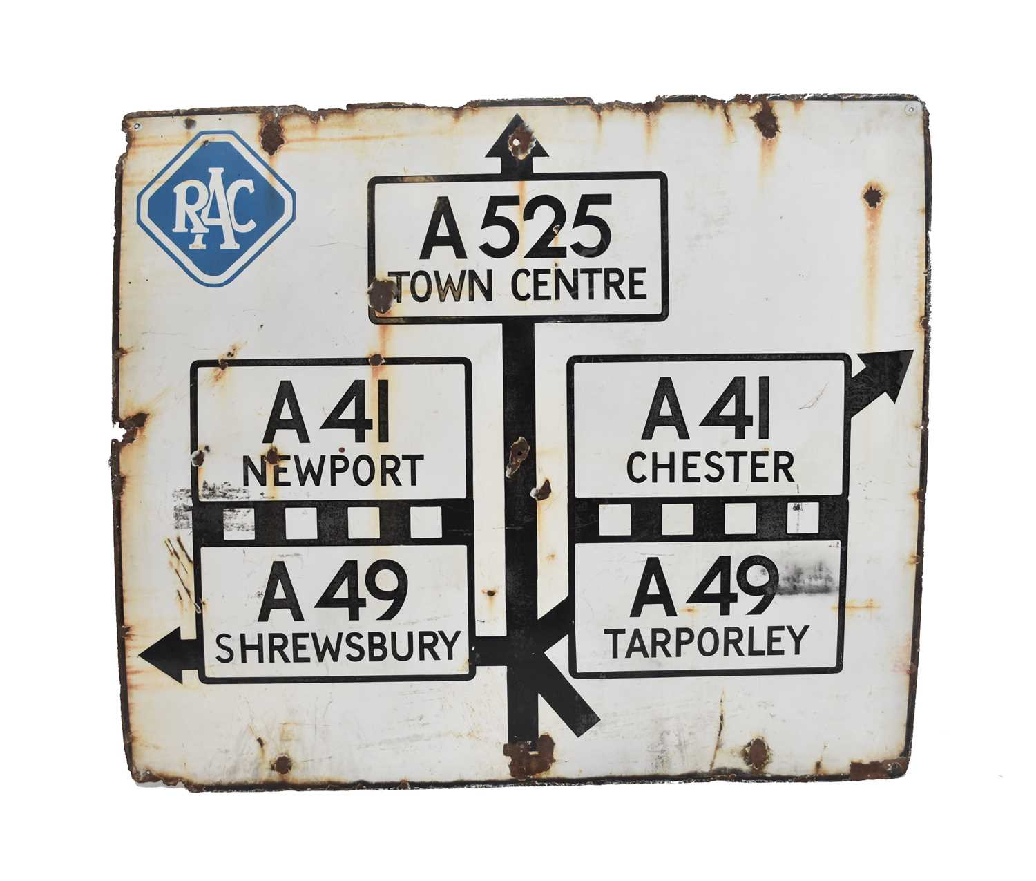Lot 16 - A mid-20th century enamel road sign of Shropshire interest