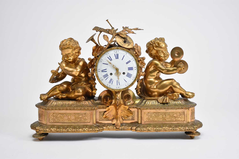 331 - A very large French ormolu mantel figural clock, circa 1900