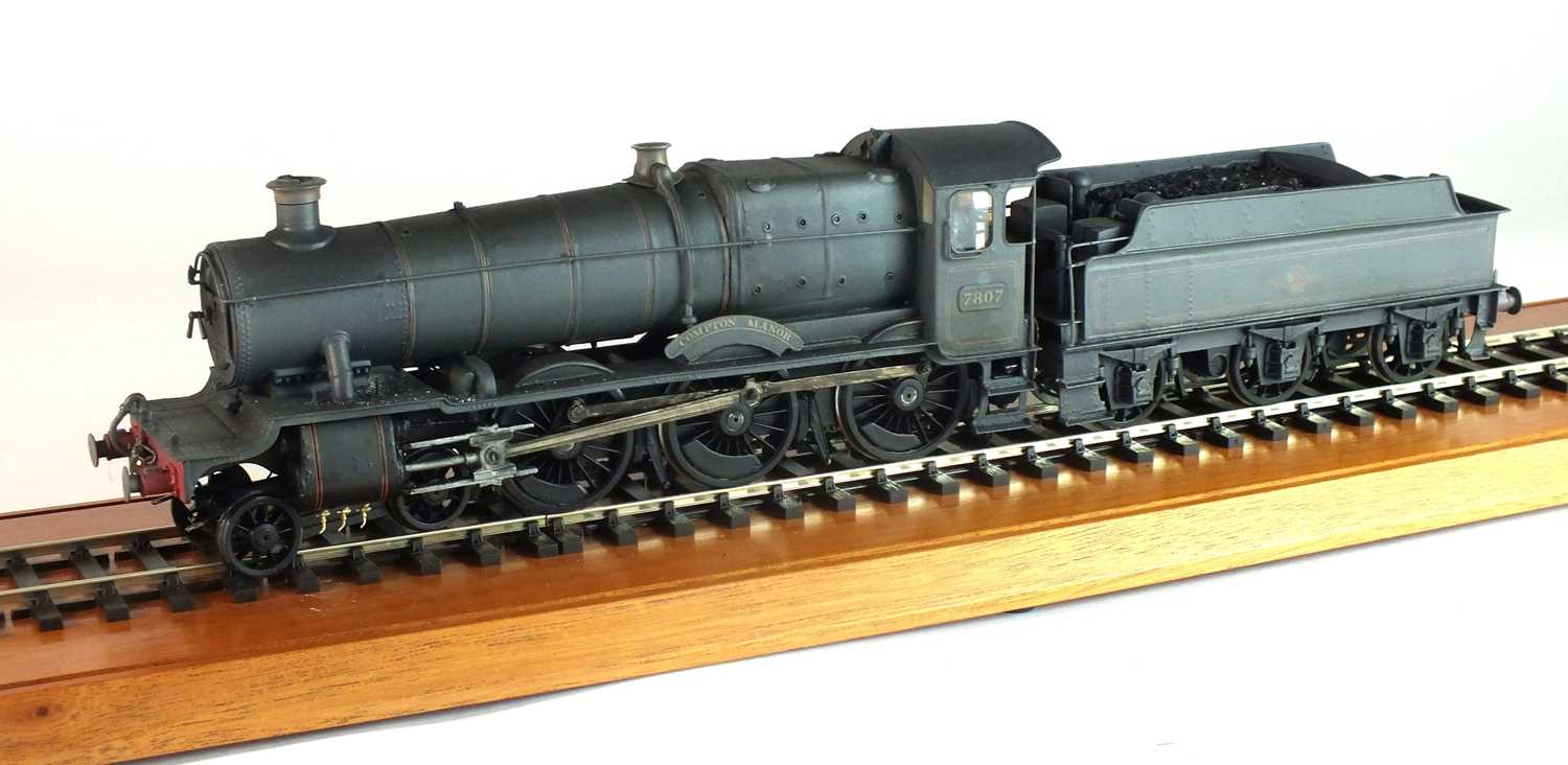 Lot 136 - A good O-gauge, scratch-built model of the steam locomotive 'Compton Manor, '7807', with tender (3)