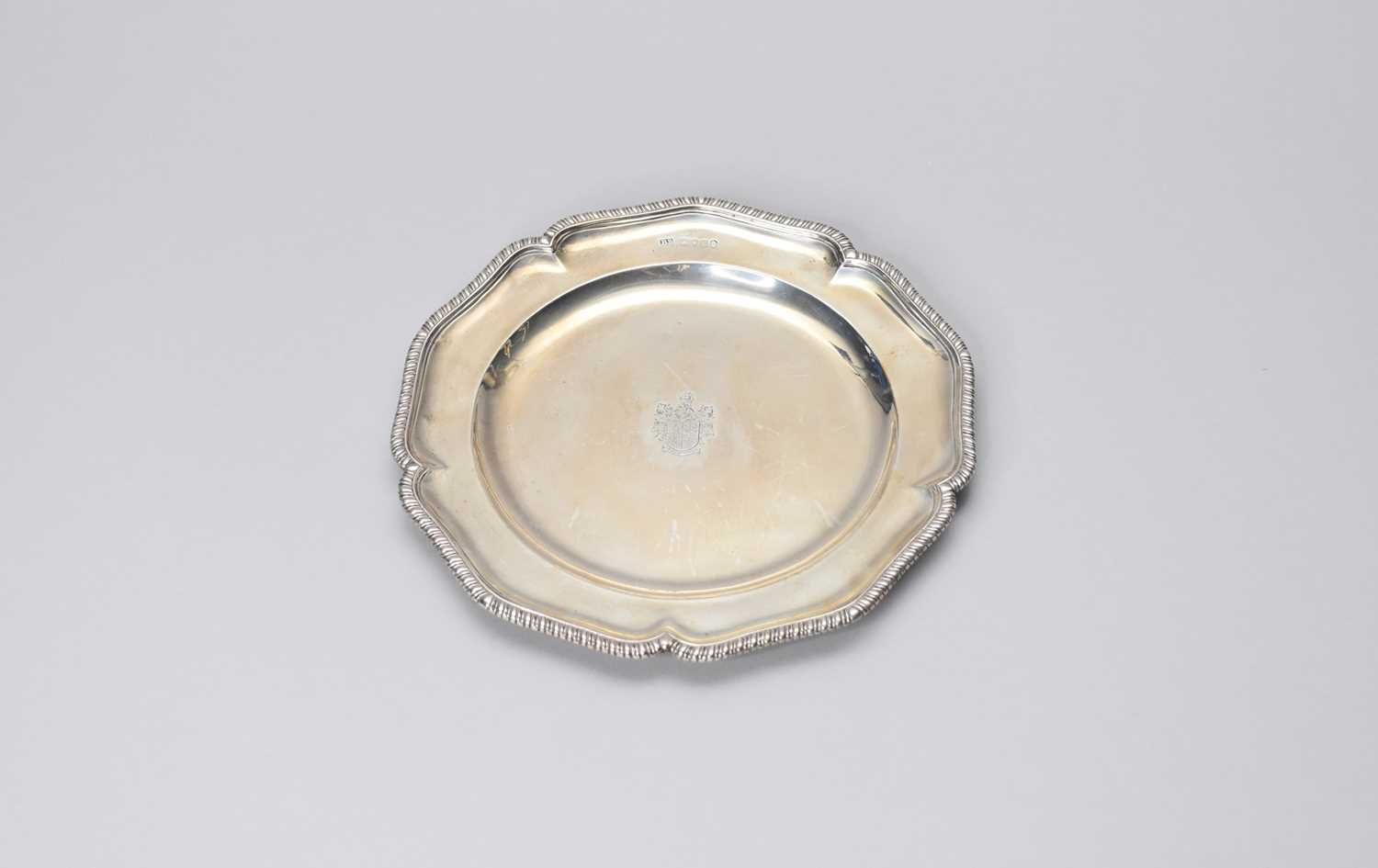 Lot 2 - An armorial silver plate