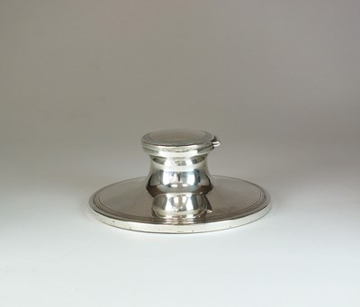 Lot 6 - A large silver mounted capstan ink well