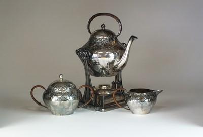 Lot 24 - A Jugendstil three piece silver plated tea service by Moritz Hacker