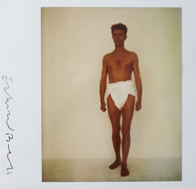 Lot 29 - Edward Bell (British Contemporary) Polaroid of David Bowie in a Toga