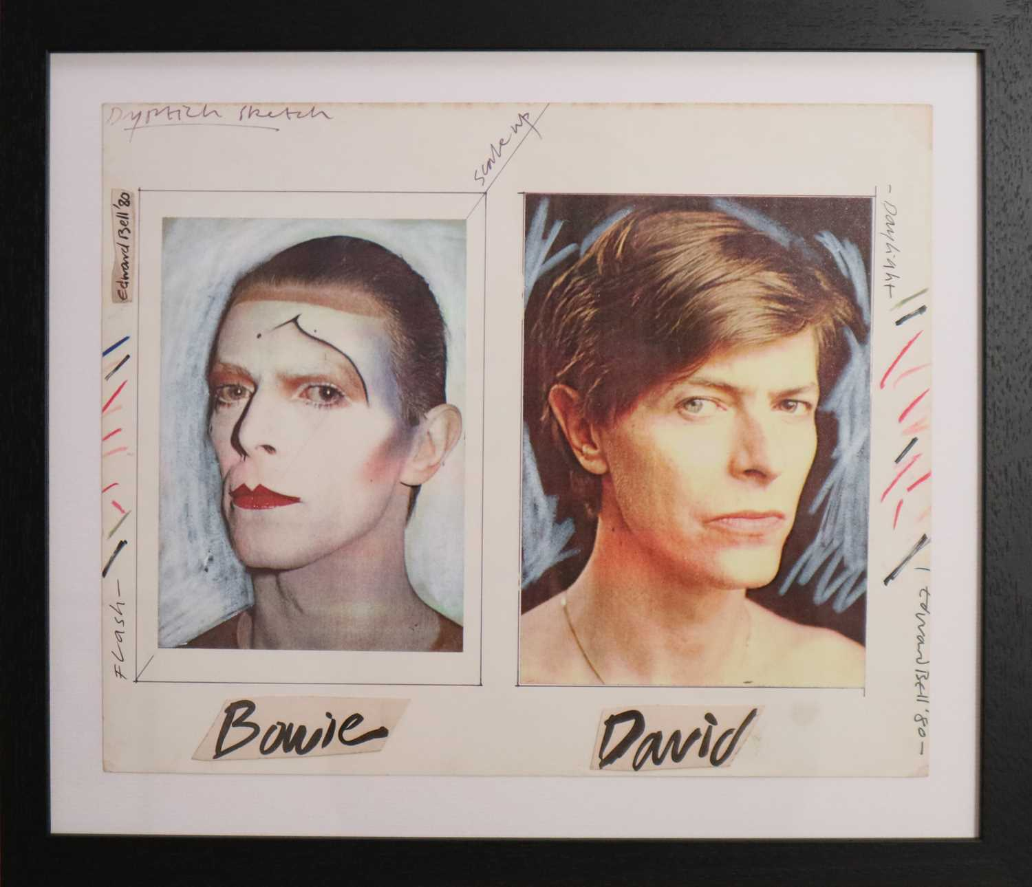 Lot Edward Bell (British Contemporary) Diptych Sketch for Scary Monsters Album