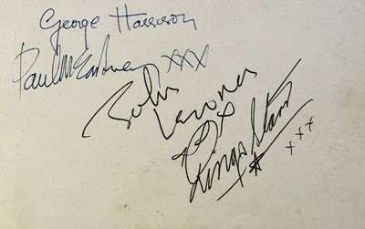 Lot 160 - THE BEATLES. Set of Beatles signatures on the...